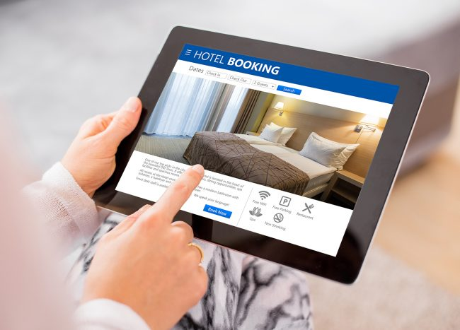 Person booking hotel room